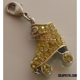Roller Skate Pendant with Strass Sapphire Yellow