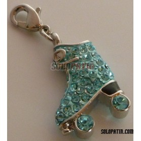 Roller Skate Pendant with Strass Sapphire Turquoise
