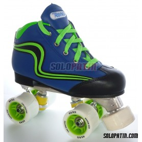 Hockey CNC Skates + Reno Initation Set Blue Green Fluor