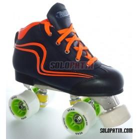 Conjunto Hockey CNC Skates + Reno Initation Azul Marino Naranja Fluor