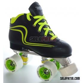Conjunto Hockey CNC Skates + Reno Initation Negro / Amarillo Fluor