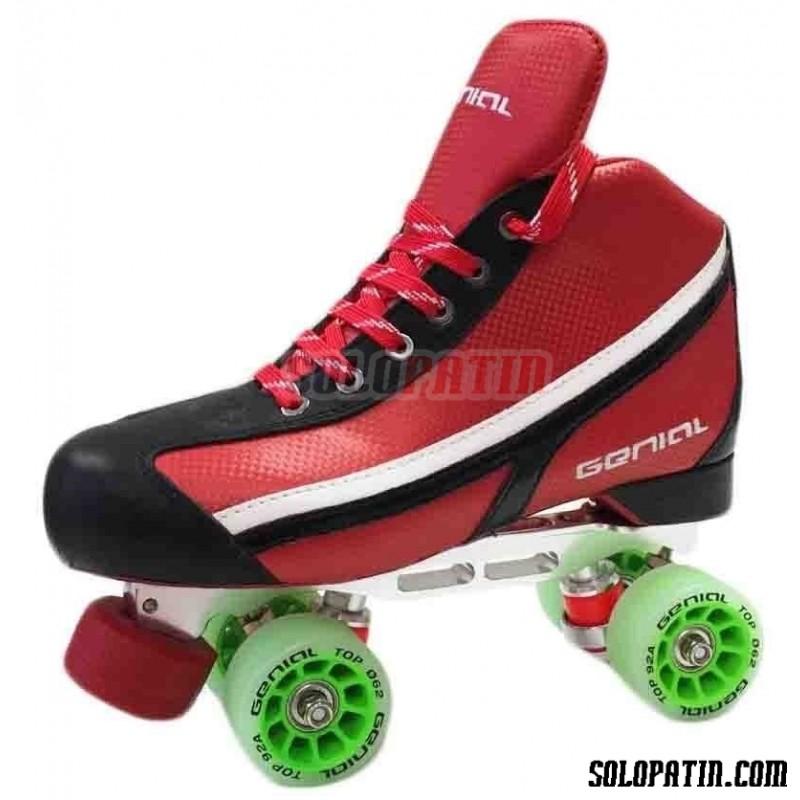 Conjunto Patines Hockey Genial Supra  Nº 6 Rojo