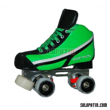 Conjunto Patines Hockey Genial MAX  Nº 7 Verde Fluor