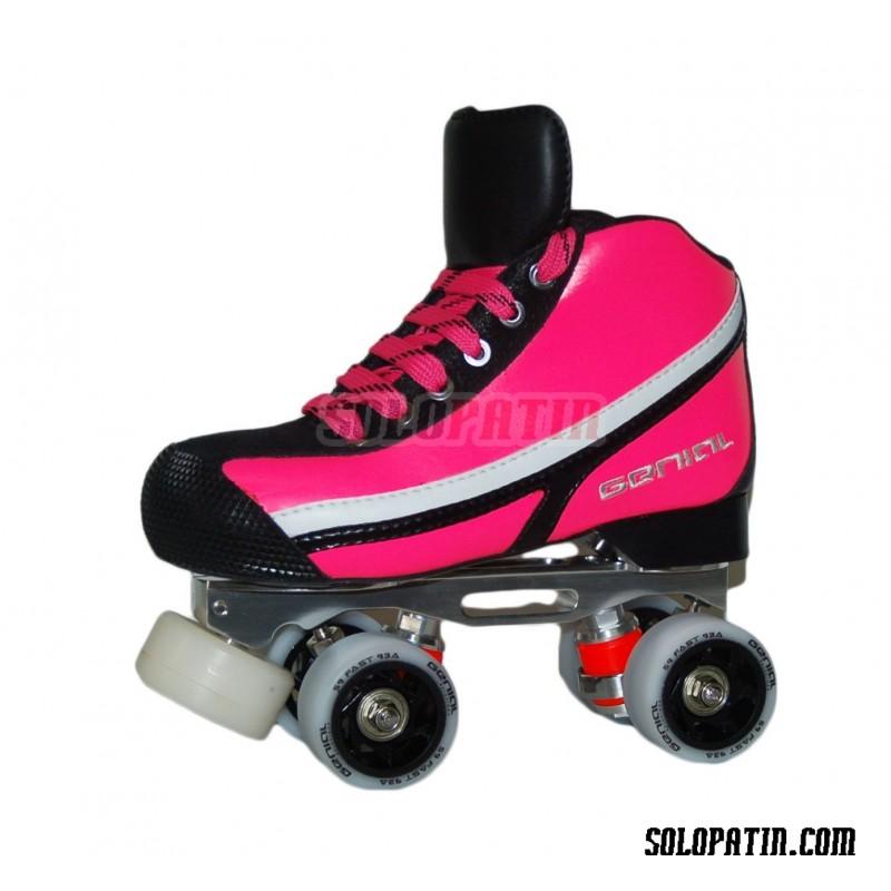 Conjunto Patines Hockey Genial MAX  Nº 7 Rosa Fluor
