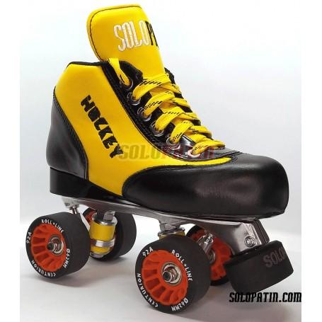Conjunto Patines Hockey Solopatin BEST AMARILLO Aluminio ruedas ROLL LINE CENTURION