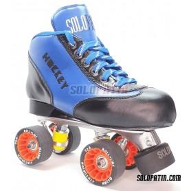 Conjunto Patines Hockey Solopatin BEST AZUL Aluminio ruedas ROLL LINE CENTURION