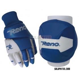 Kit Proteção Reno Joelheiras Luvas Azul Branco