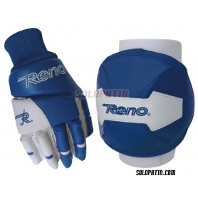 Kit Protezione Reno Ginocchiere Guanti Blu Bianco