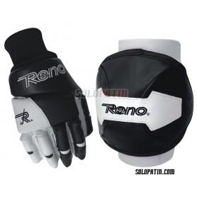 Kit Proteção Reno Joelheiras Luvas preto Branco